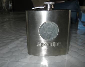 Jagermeister Stainless Steel Flask 6 oz Mat#701678 Deer Head and Cross