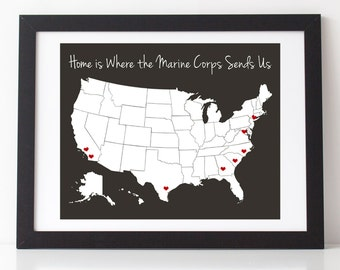 "Home is Where the Marine Corps Sends Us 8"" x 10"" Print w/ Vinyl Heart Decals 
