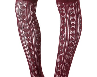 Diamond Check, Stripe, Pointelle, Over the knee socks, Knitted, Boot Socks, Gift for Her