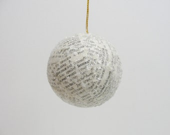 "Vintage dictionary page ornament 2.5"" ball"