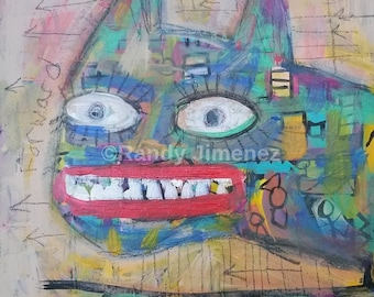 Original Outsider Art Painting - Primitive art - Art Brut - CAT -