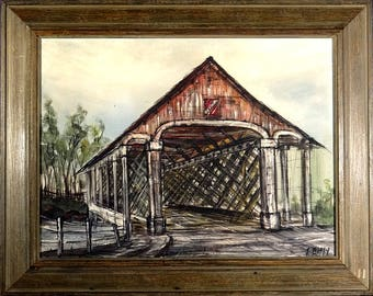 Superb ca.1970 Pennsylvania Covered Bridge Oil Painting on Canvas w/Frame Signed