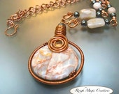 Large Gemstone Pendant Boho Necklace Copper Wire Wrapped Stone