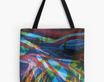 "Abstract River Print Tote Bag - Artist's Mixed Media Painting Design. Two Sizes Available Medium 16"" and Large 18"""