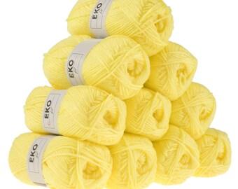 10 x 50g knitted Yarn eko fil, #097 Lemon Yellow
