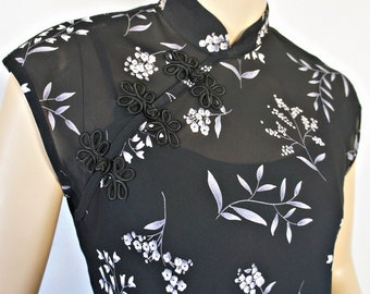 Maxi Dress Oriental Inspired Semi Sheer Vintage 1980's 1990's Two Piece Cheongsam Floral Size 6