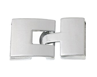 2 Sets Silver End Cap Hook and Eye Clasps for 20mm x 3mm Flat Leather Cord, fcl0259