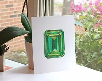 Gem No. 12, watercolor print, watercolor art, watercolor painting, gem art, gemstone, emerald, emerald art, geometric, geometric art