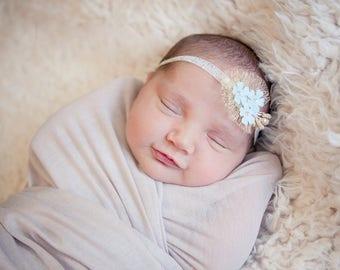 Golden Tieback Newborn headband Mint Golden Newborn Photo Prop Newborn tieback baby headband baby tieback newborn tieback flower tieback RTS