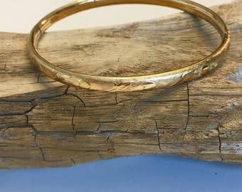 Vintage Gold Filled Heart Bangle