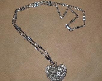 Vintage - Signed Marcie - Pewter Necklace - Heart Pendant