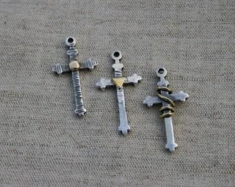 Sterling Pendant | Silver Pendant | Unisex Pendant | Cross Pendant | Silver Cross Necklace | Silver and Brass Cross Pendants