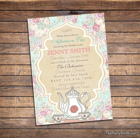Tea baby shower invitation printable high tea shower invite like this item filmwisefo Choice Image