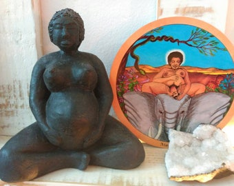 Black Mama Goddess Sculpture Statue Ceramic Clay Altar Art Handmade