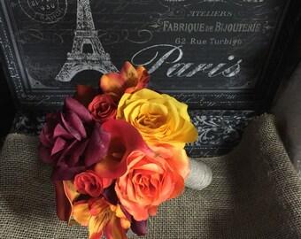Orange Yellow Burgundy Fall Wedding Bouquet, Orange Bouquet, Orange Rose Bouquet, Burlap Bouquet, Fall Orange Bouquet Rustic