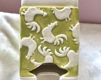 Fun Rooster Print Green Tea bag/Sugar packet holder