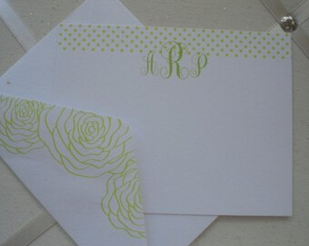SALE! White with Lime Green Trim Set of Ten