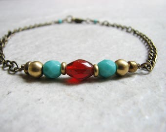 Beaded Brass Anklet Turquoise Blue and Red Anklet Boho Ankle Bracelet Southwestern Anklet Adjustable Chain Ankle Jewelry for Women