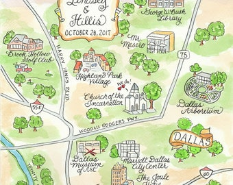 Custom Wedding Map - Dallas - Hand Drawn Wedding Map-Watercolor Map