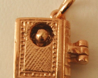 Genuine SOLID 9K 9ct ROSE GOLD 3D Bookworm charm/pendant