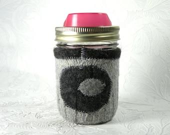 Jar Cozy - 1/2 pint size - pockadot - grey