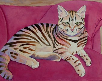 Kitty Cat watercolor original cat on pink couch 11x15