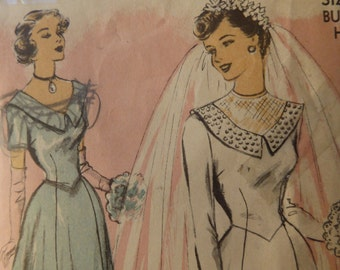 Rare 1940's Advance Bridal Gown and Bridesmaid Sewing Pattern, 1940's Wedding Dress Pattern, Vintage Wedding Dress Pattern.