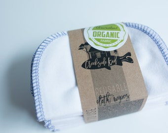 Organic Cotton Flannel Cloth Wipes with Organic Cotton Thread -   Organic Wipes - Double Layer --   TWILIGHT BLUE Thread