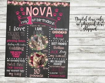 Cat/Dog Birthday Floral Chalkboard Sign-Digital Download