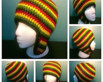 Crochet Rastafarian Earflap Hat