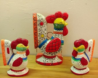 Vintage Lego Folk Art Rooster Napkin Holder and Salt and Pepper Set