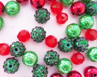 Red and Green Bead Collection, 10mm beads and larger, K27