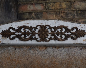 """Antique Wood pediment 45"""" Architectural salvage applique Chippy white Shabby French Country home garden supplies"""