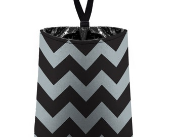 Car Trash Bag // Auto Trash Bag // Car Accessories // Car Litter Bag // Car Garbage Bag - Chevron - Grey and Black