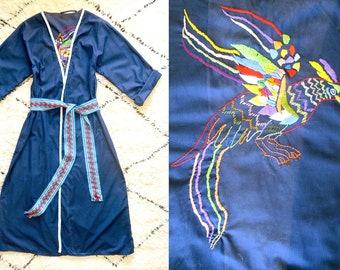 1970s robe / 70s dressing gown / Nightbird robe / cotton summer robe