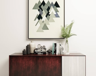 Mountain Print, Black and White Wall Art, Abstract Landscape, Geometric Print - French Alps at Dusk