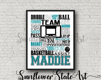 Personalized Basketball Poster Typography, Girl's Basketball, Basketball Team Gift, Basketball Art, Basketball Print, Basketball Wall Art