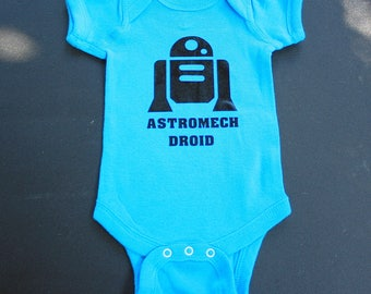 Baby Bodysuit - Astromech Droid - One Piece Baby Creeper - Blue