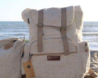 Hemp Rucksack Backpack Hemp backpack / Back to school backpack/ book bag/ laptop bag/ School Supplies/ Natural Hand Woven Hemp Fabric