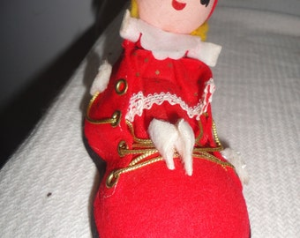 Vintage Unused Bright Red Shoe or Bright Red Sneaker with Spun Cotton elf Made in Japan Red Shoe Ornament Christmas Tree Ornament