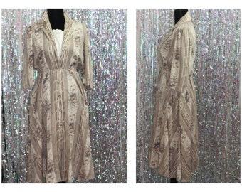 J. Ellis Petites, Brown Floral Dress w/ Pockets and Slip (S-M)