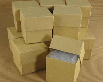 Square Kraft Chipboard Jewelry Gift Boxes - Set of 12  / 2 x 2 x 2 Inch / Perfect for Gift Wrapping, Packaging & Favors