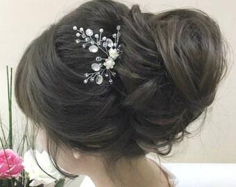 Bridal Hair Pin Rhinestone Hair Clip Beaded Hair Piece Wedding Bobby Pin Bridal Accessories Pearl Hair Pin Crystal Hair Comb Silver Hair Pin