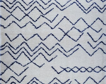 SHAGGY Moroccan Ivory Navy Blue Area Rug