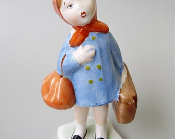 Vintage HUNGARIAN porcelain figurine,little girl with  baggages stamped,handpainted