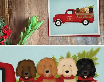 Doodle goldendoodle labradoodle dog tree farm Christmas Holiday Card greeting cards by Stephen Fowler Christmas 12 pack