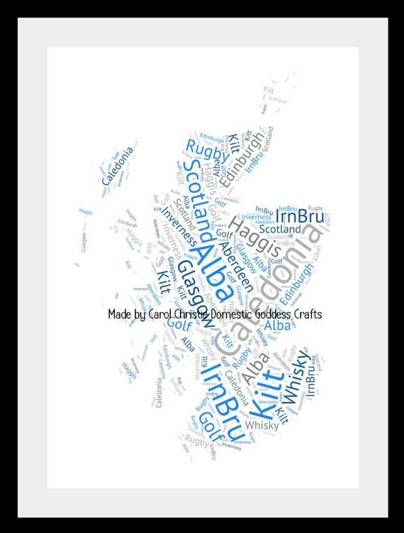 Map of scotland word art scotland map map of scotland map of scotland word art scotland map map of scotland scottish print personalised scottish map scottish word collage scottish gift gumiabroncs Choice Image