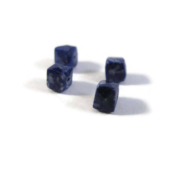 Four Lapis Beads, Natural Lapis Lazuli Cubes, Geometric Faceted Cubes, Blue Gemstones, 4 Count, 4.5mm x 4.5mm (L-Lap1b)