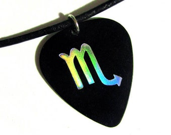 Scorpio Sign Guitar Pick Necklace, black and holo silver