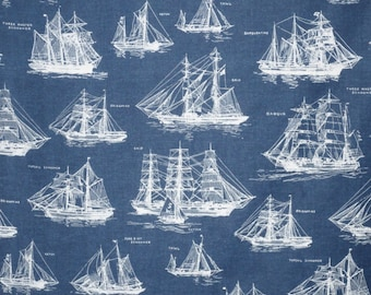 Navy Blue Down by the Sea Sailing Ships Print Pure Cotton Fabric--One Yard